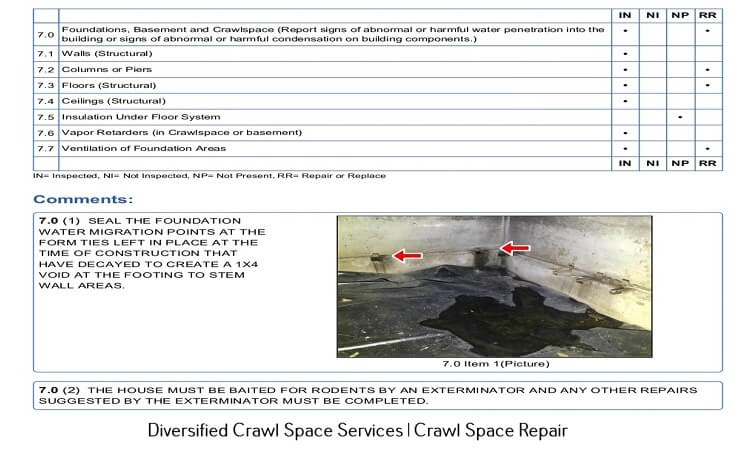 crawl space inspection report
